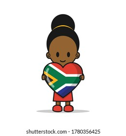 Girl Heritage Day Heart African Flag. Vector Cute Cartoon Illustration