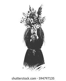 Girl hides behind a bouquet of flowers. Can be used for tattoo design
