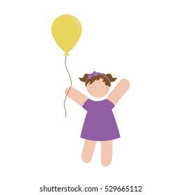 girl holding a air balloon over white background. pictogram design. vector illustration