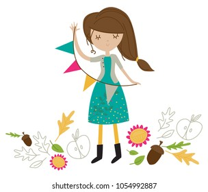 Girl holding a banner vector illustration