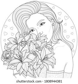 Girl holding a bouquet of flowers.Coloring book antistress for children and adults. Illustration isolated on white background.Black and white drawing.Zen-tangle style.