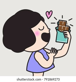 Girl Holding A Chocolate Bar With Love. Girl Showing That She Doesn't Want Nothing Except Her Favorite Treat Concept Card Character illustration