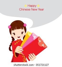 Girl Holding Envelopes, Traditional Celebration, China, Happy Chinese New Year