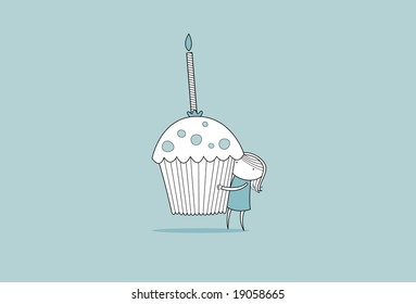 Girl holding a giant cupcake