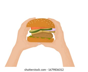 Girl holding in his hands a fresh homemade Burger isolated on white background. Freshly prepared homemade hamburger for school lunch child.