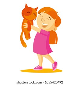 Girl holding a kittenVector illustration