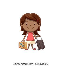 Girl holding luggage