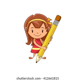 Girl holding pencil, vector illustration
