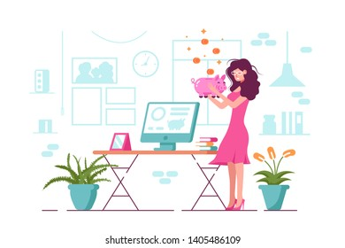 Girl holding piggy bank vector illustration. Cartoon smiling woman in pink dress standing with moneybox in office flat design. Open online banking app on screen of computer. Saving money concept