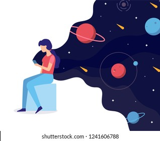 Girl holding a smartphone in which space. Web development business concept. The user uses a new application. Flat vector illustration.