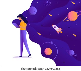 Girl holding a tablet from which flows space. Creativity, generation of new ideas, creation of applications, programs and websites. Web development business concept. Flat vector illustration.