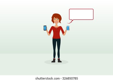 Girl Holding Two Phones