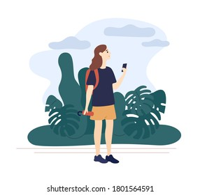 Girl holding umbrella looking weather forecast use smartphone vector flat illustration. Woman walking in natural park at overcast day isolated on white. Female surrounded by landscape with cloudy sky