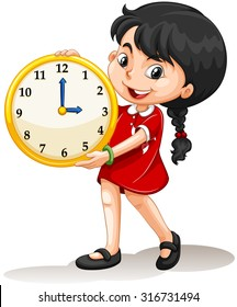 Girl holding yellow clock illustration
