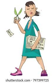 A girl holds discount coupon. Cartoon.