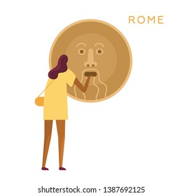 Girl holds hand in the mouth of truth. Roman adventures. Cartoon travel illustration for cards, banner, poster, cover, invitation, placard, brochure. Vector, white isolated. Simple flat design.