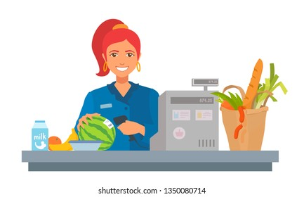 Girl holds a handheld barcode scanner, scans groceries. Friendly cute lady smiling, looks at camera, check out purchases. Vector colorful cartoon flat style illustration isolated on white background.