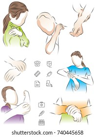 The girl holds on to her shoulder, wrist, elbow. The man holds on to his wrist and shoulder. A set of colored, vector illustrations of pain in the hand.
