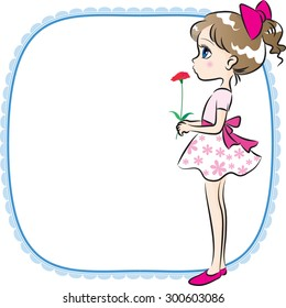 girl holing a carnation flower with border
