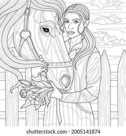 Girl with a horse and a bouquet of flowers.Coloring book antistress for children and adults. Illustration isolated on white background.Zen-tangle style. Hand draw