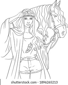 Girl with horse coloring book