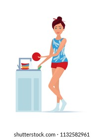 Girl housewife in homely clothes, being in kitchen near the sink, homemaker washes dishes with sponge. Housewife engaged housework, household chores, brings cleanliness. Illustration in cartoon style.