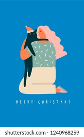 Girl hugging a cat christmas card illustration. Winter holiday collection.