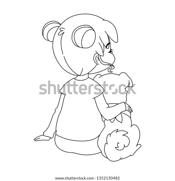 Girl Hugging Dog Colored Cartoon Characters Stock Vector Royalty