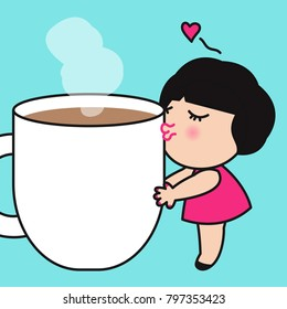 Girl Hugging And Kissing Her Cup Of Coffee. Concept Of Coffee Lover Card Character illustration