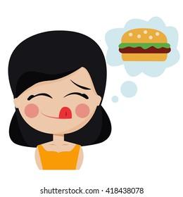 Girl hungry wants hamburger