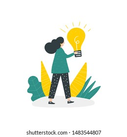 Girl with idea light bulb. Cute hand drawn doodle concept illustration with woman, plants. Banner, poster, background about inspiration, success, decision.