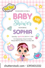 It's a girl! Invitation card template with cute baby. Baby shower card with beautiful baby