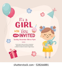 It's a Girl invitation template. Cute baby girl with a rabbit, place for your text. Labels with letters and kids illustration.