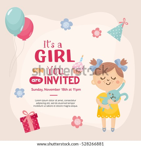 girl invitation template cute baby girl stock vector royalty free