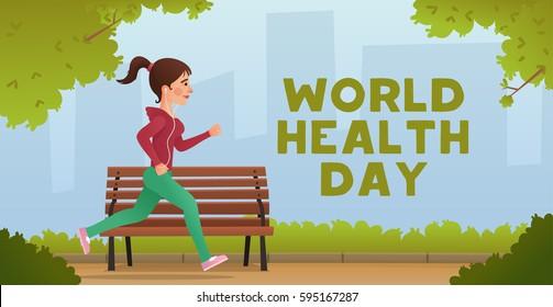 Girl Jogging. Sport fitness run training. World Health Day.