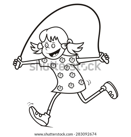 girl jump rope coloring page stock vector royalty free 283092674