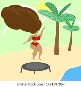 Girl jumping on trampoline on the beach, abstract vector illustration