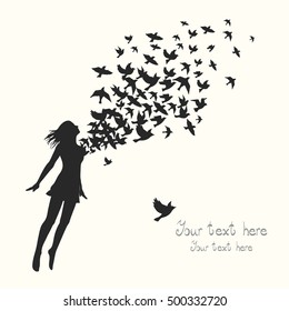 The girl jumping with swarm of birds.