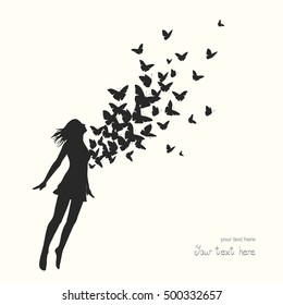 The girl jumping with swarm of butterflies.