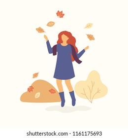 Girl is jumping and throwing autumn leaves up and having autumn mood. Autumn concept Vector flat illustration. Fall and pile of leaves on light background.