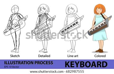 Girl Keyboard Musician Drawing Process Step Stock Vector Royalty