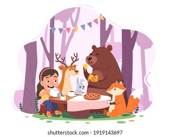 Girl kid, animal cartoon characters tea party in forest. Child person, bear, fox, deer, rabbit sitting at table drinking tea. Childhood friendship fun fairy tale concept flat vector illustration
