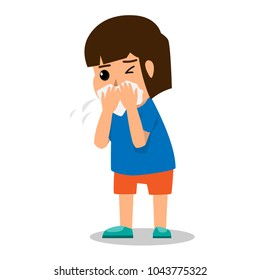 girl kid coughing because sick and fever. health care cartoon character concept vector illustration.