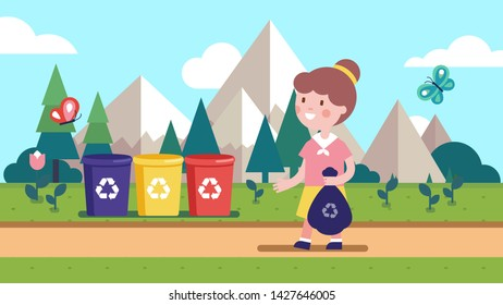 Girl kid holding sack & taking out litter, garbage to different colored separation recycle bins on meadow. Smiling child cartoon character sorting waste. Separate waste collection. Flat vector illustr
