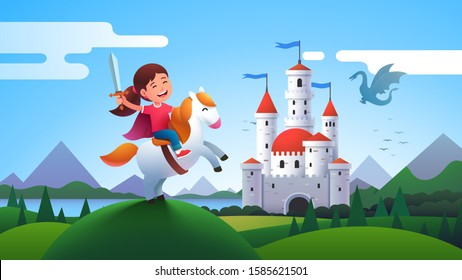 Girl kid medieval horseman knight holding sword & riding horse amidst castle meadow hill. Happy child knight fantasy. Fairy tale landscape with castle and dragon. Flat character vector illustration