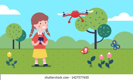 Girl kid operating radio-controlled flying drone on summer meadow with dog. Kid playing and holding RC controller. Smiling child cartoon character with modern toy quadcopter. Flat vector illustration