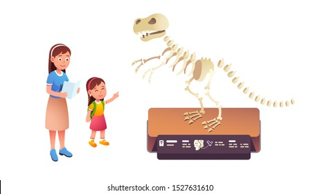 Girl kid pointing at tyrannosaurus rex dinosaur skeleton in natural history museum. Mother & daughter child visiting paleontology museum together. Parenting & education fun. Flat vector illustration