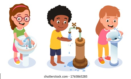 Girl kid pouring water into glass from sink faucet, drinking from drink fountain & boy washing hands using outdoor tap. Thirst & hygiene. Children cartoon characters set. Flat vector illustration