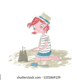 Girl kid with red hair playing on the beach with sand, sandcastle - Vector illustration hand drawn with pencil texture isolated on white background