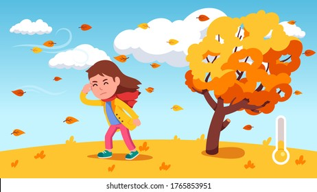 Girl kid struggle walking against wind near bending tree with yellow leaves windy autumn day. Thermometer showing fall season weather temperature. Flat vector person character illustration